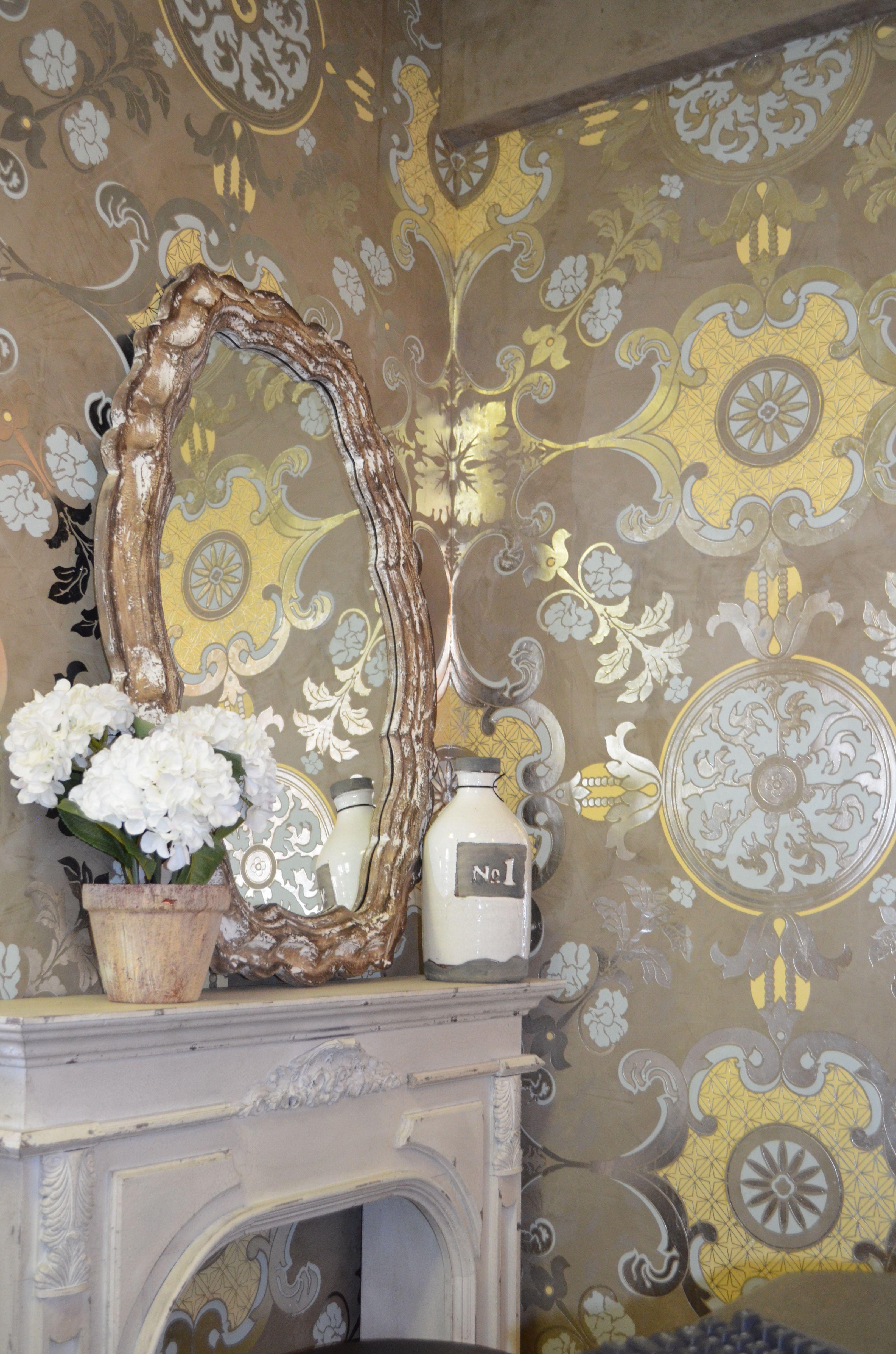 hand stencil over venetian plaster fake fireplace accessories rh pinterest com