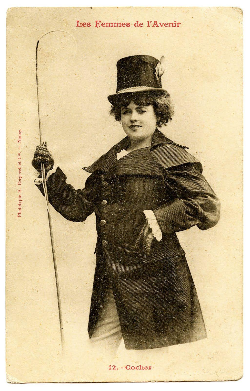 Fun French Postcard Woman in Coachman Costume with Top