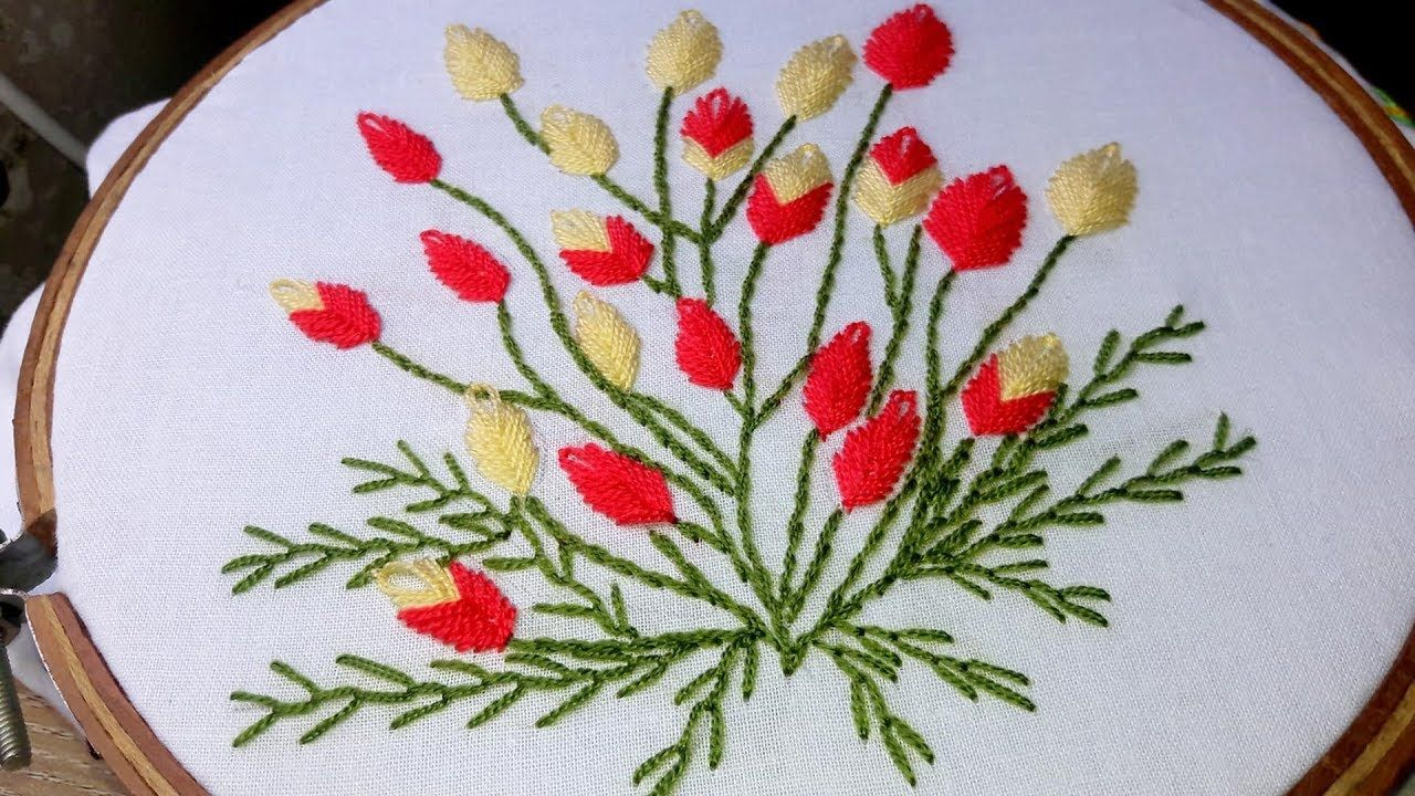 Hand Embroidery flower design by cherry blossom.   Hand ...