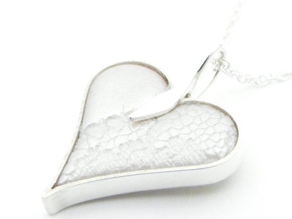 Polymer Clay and Sterling Silver Heart Pendant by vjddesign, £35.00