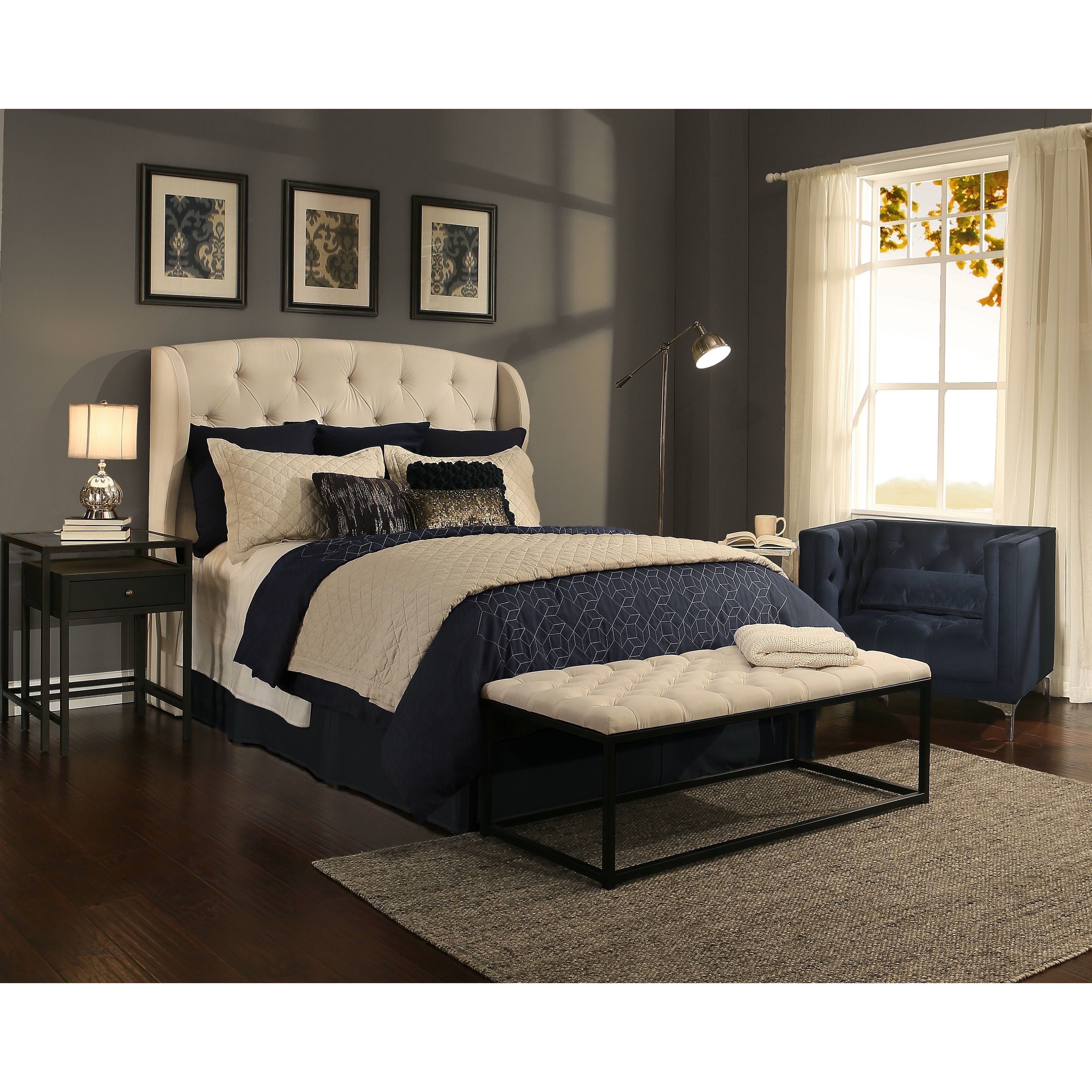 Bedroom Color Ideas With Dark Furniture Bedroom Decorating Ideas With Tufted Headboard Zen Master Bedroom Ideas Bedroom Color Ideas Gray: Republic Design House Archer Ivory Tufted Upholstered