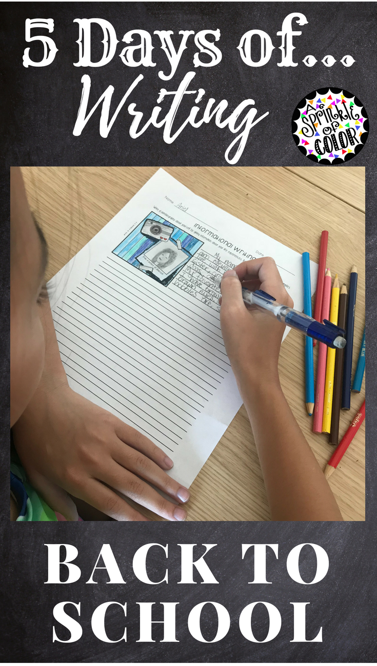 Five Days Of Writing Back To School Elementary Language Arts
