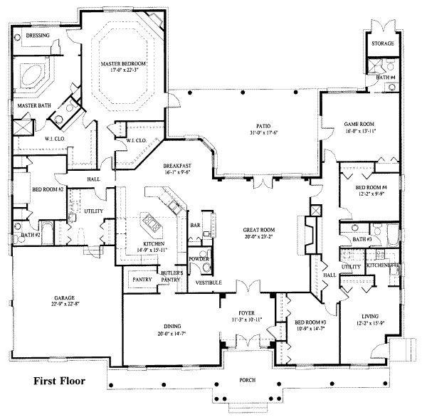European Style House Plan 4 Beds 4 5 Baths 5282 Sq Ft Plan 119 119 House Plans House Floor Plans House Layouts