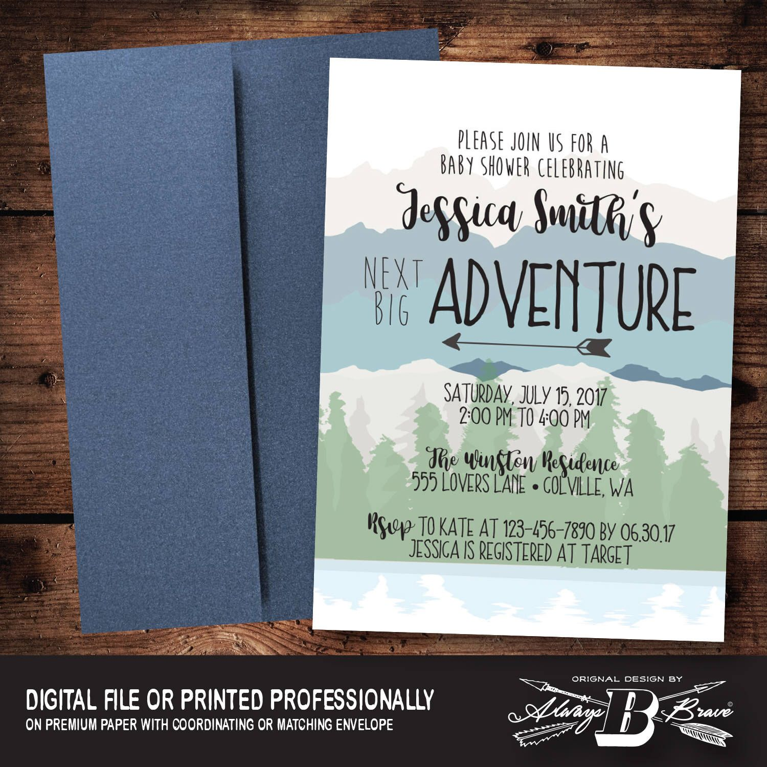 jungle theme baby shower invitation sayings%0A Rustic Mountain Baby Shower   Adventure Begins Invitation   Woodsy Outdoor  Invitation   Woodland Invitation