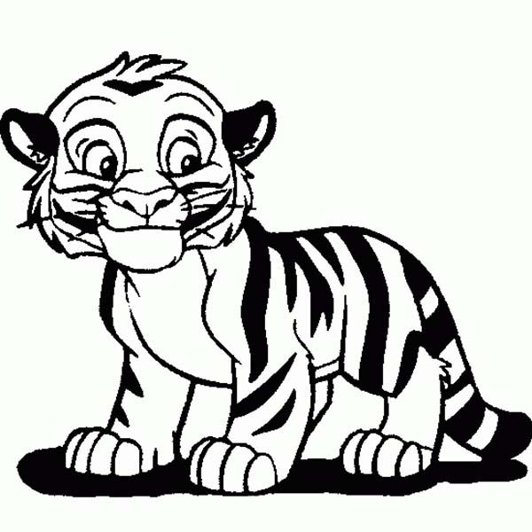 Cartoon Tiger Drawing | Cute Tiger Cub in Cartoon Coloring Page ...