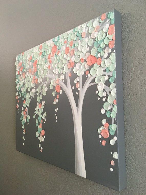 Mint Green and Peach Coral Art Textured Tree by MurrayDesignShop - kunst fürs wohnzimmer