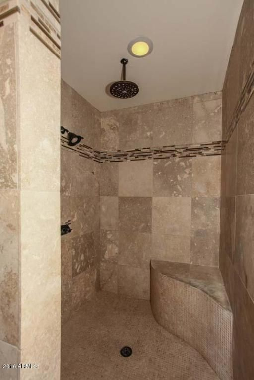 Master Bathroom Ideas: Walk in Shower. Travertine with accent tile ...