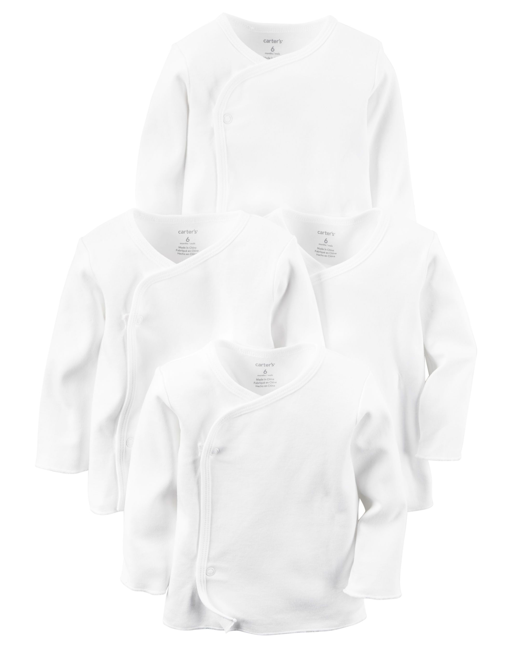 Carters 4-Pack Kimono Side-Snap Tees 3 Months White