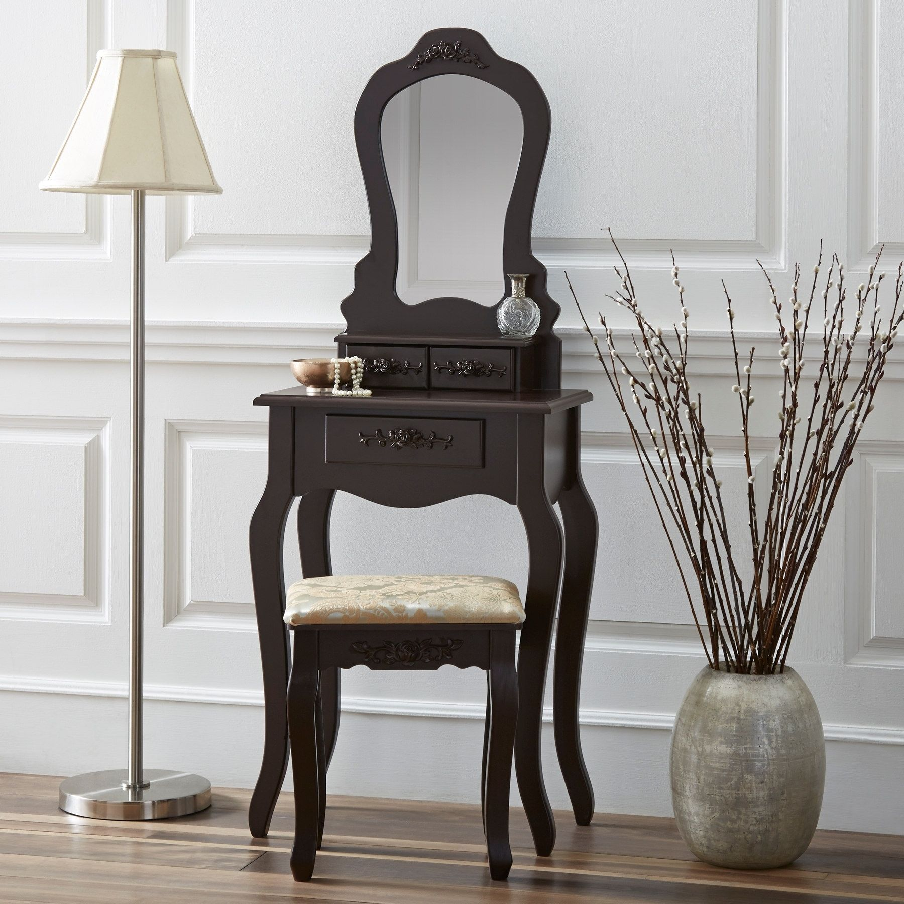 fineboard elegant 3 drawer dressing table set wooden vanity table rh pinterest com mx