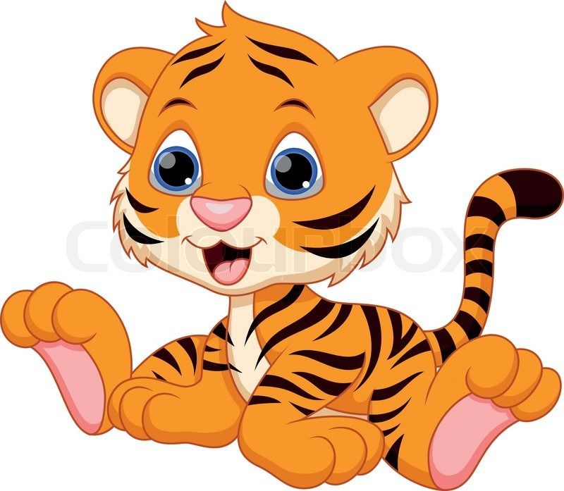 Stock vector of 'Cute baby tiger cartoon' | Infantiles ...