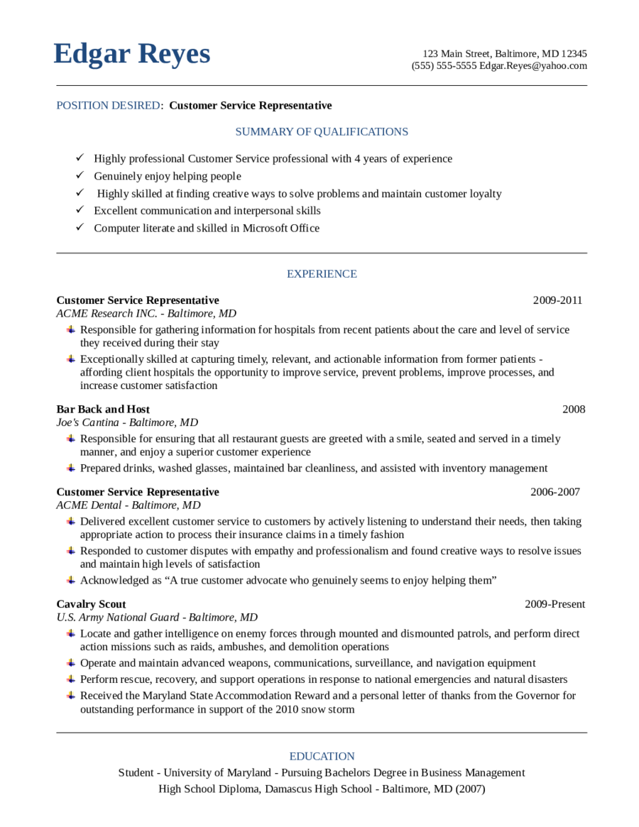 Customer Service Resume Template Skills Free Templates  Home