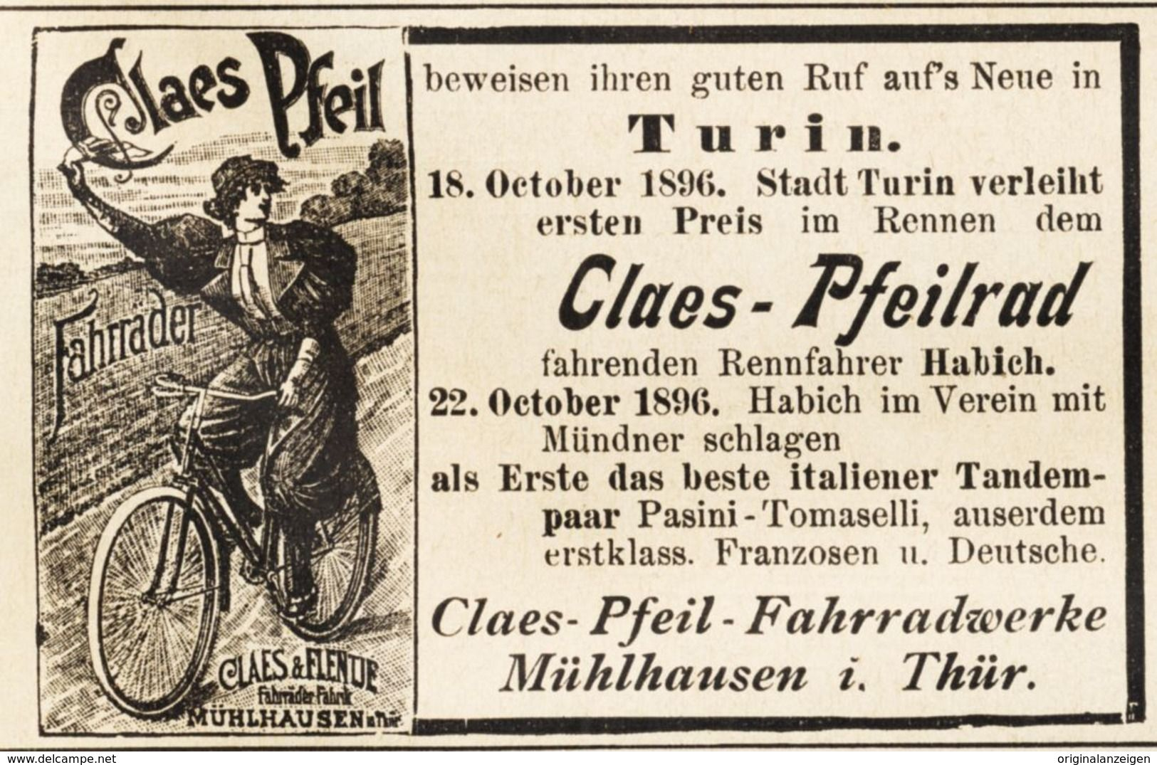 Original Werbung Anzeige 1897 Fahrrad Claes Pfeil Turin Rennfahrer Habich Ca 80 X 55 Mm Werbung Turin Fahrer Fahrrad