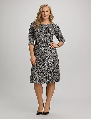 I Really Like This Dress Plus Size Belted Leaf Print Dress