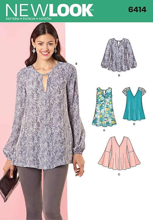 Misses Tunic and Top with Neckline Variations New Look Sewing ...