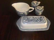 Currier and Ives Blue ANTIQUE Butter dish lid salt pepper shakers creamer MINT & Currier and Ives Blue ANTIQUE Butter dish lid salt pepper shakers ...
