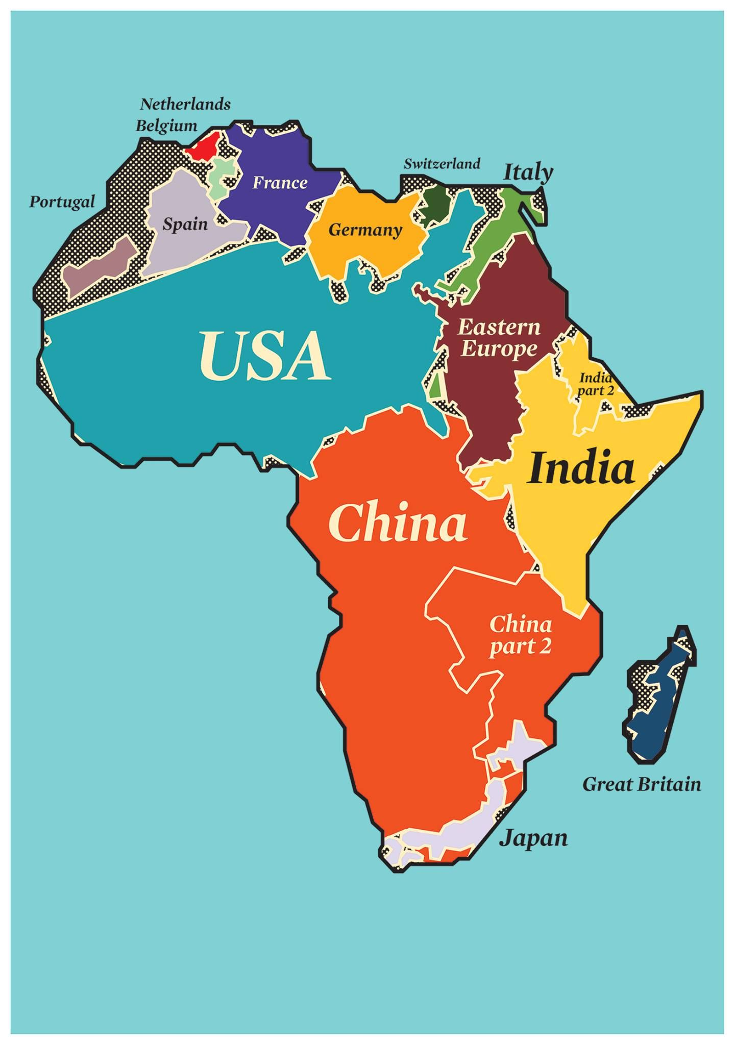 Real size of Africa compared to other countries | Africa map ...
