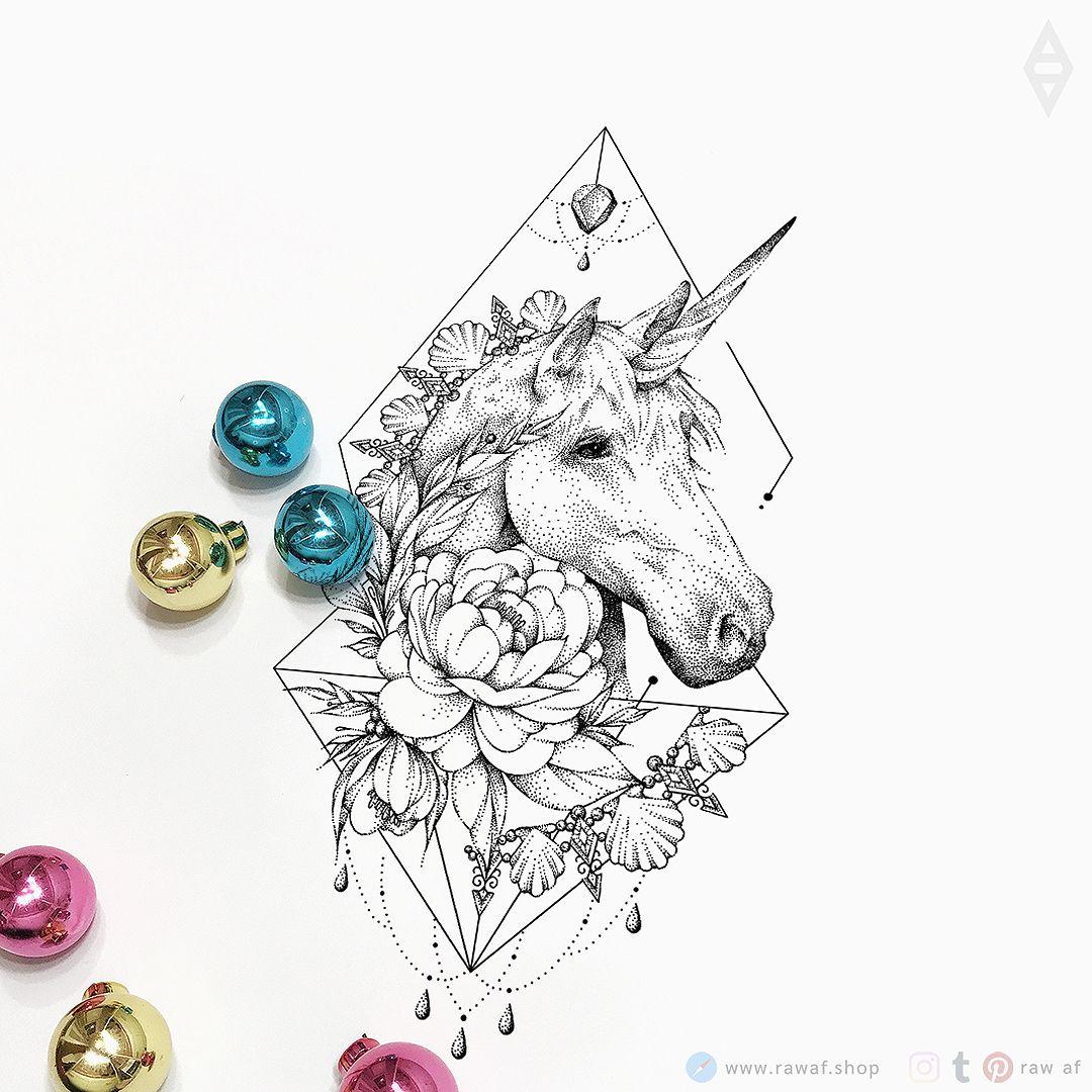 Dotwork unicorn flowers tattoo design
