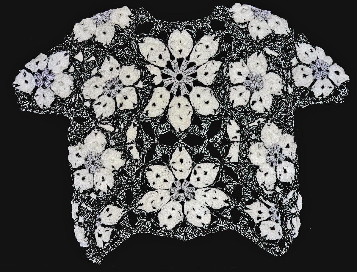 Chaleco tejido a crochet en estambre acrílico blanco 42ddbec2739d