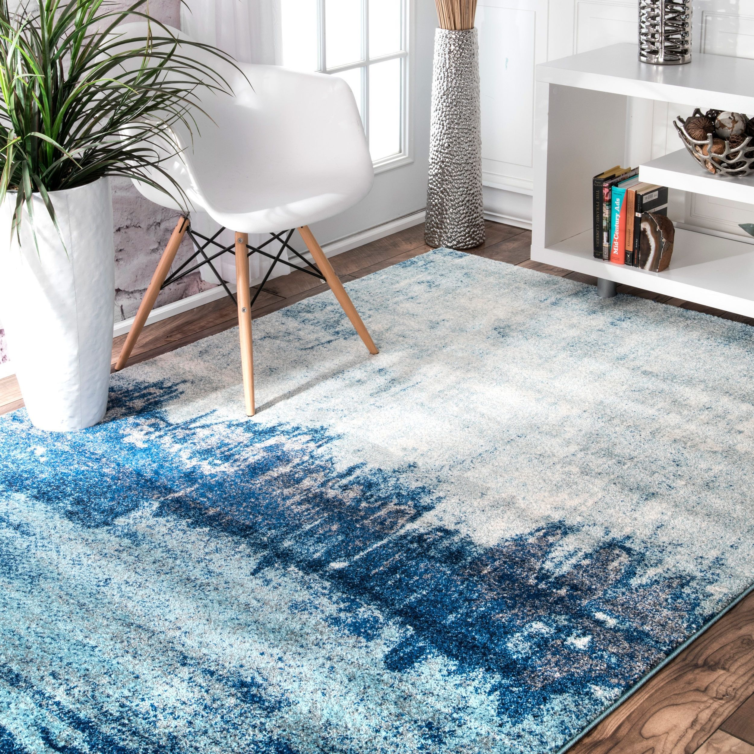 nuLOOM Contemporary Abstract Blue Rug 9u0027 x
