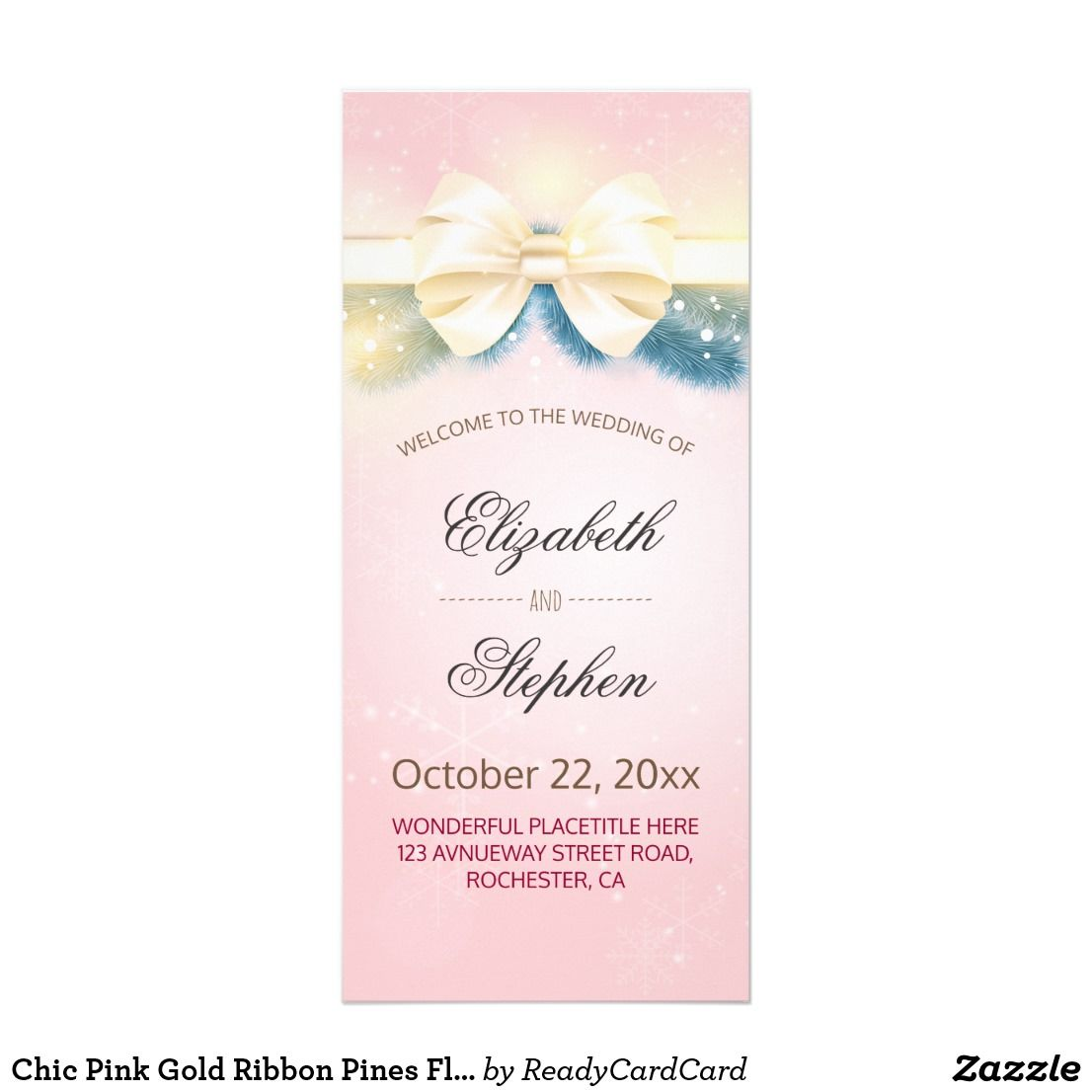Chic Pink Gold Ribbon Pines Fl Wedding Program Elegant Vintage Modern And