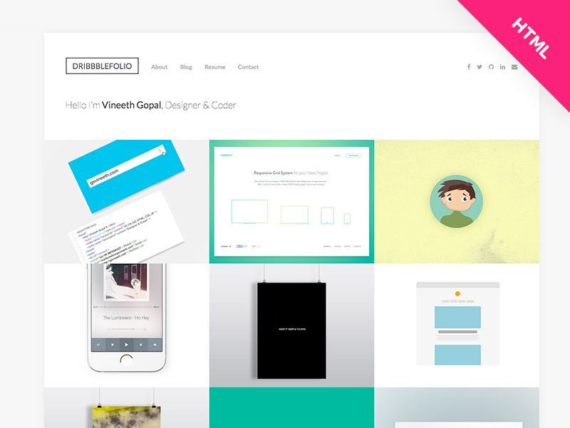 Resume Html Template Dribbblefoliov2 Dribbble Portfolio Html Template Free Download