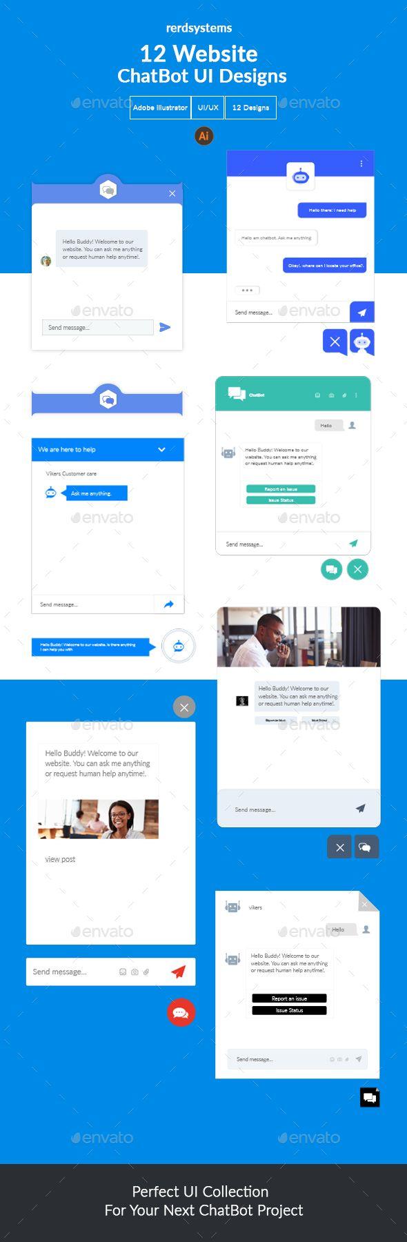 12 Creative Website Chat Bot UI Designs - Forms Web Elements | Web