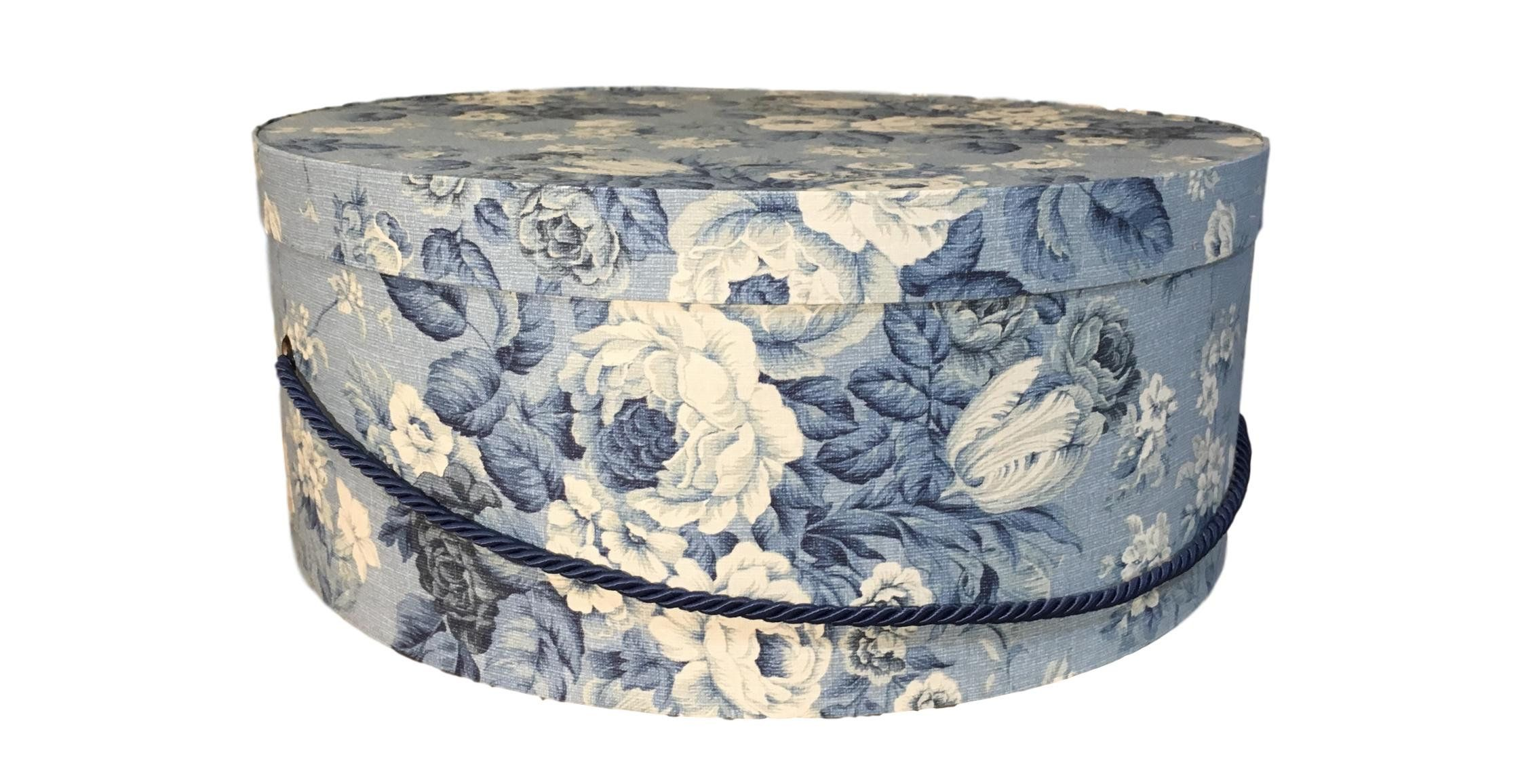 Extra Large Hat Box In Blue Floral Decorative Fabric Covered Hat Boxes Round Storage Box Keepsake Boxes With Lid Nesting Fabric Decor Large Hats Hat Boxes