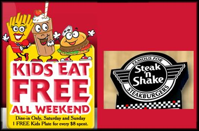 Kids eat FREE at Steak N' Shake on Saturday and Sunday. Details are in link: