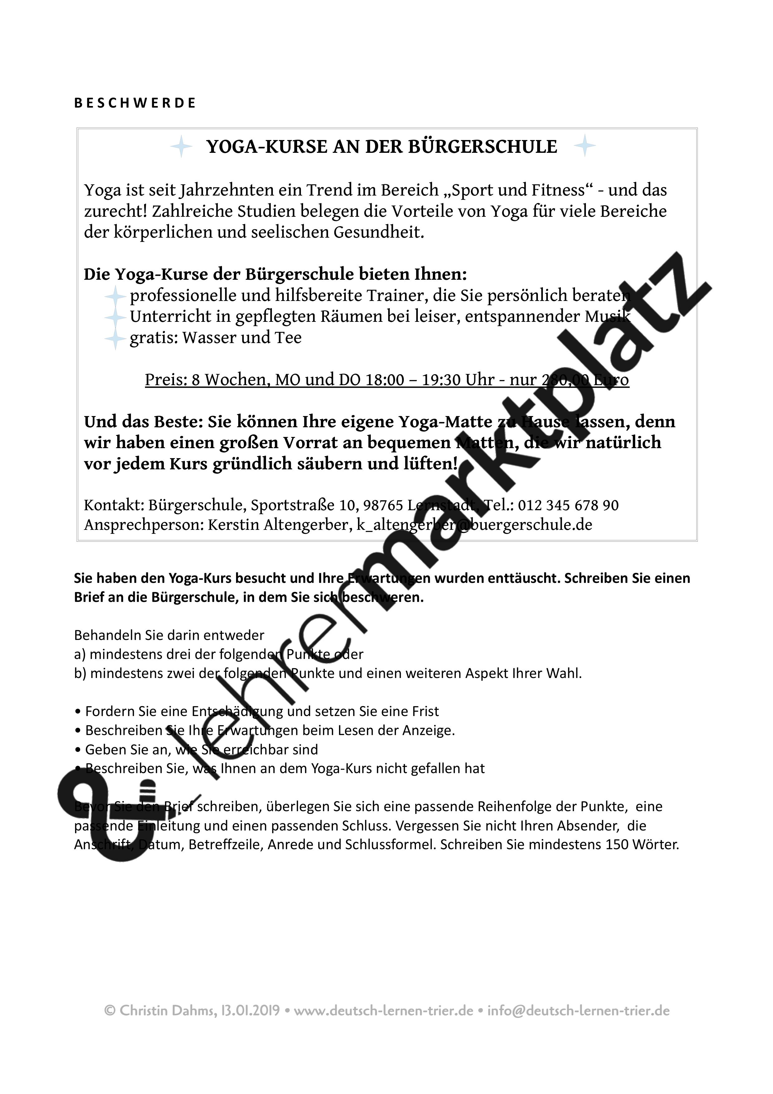 B2 Schriftlicher Ausdruck 4 Briefe Bitte Um Informationen Beschwerde Bewerbung Anmeldung Unterrichtsmaterial Im Fach Daz Daf Deutsche Sprache Schreibaufgaben Bewerbung