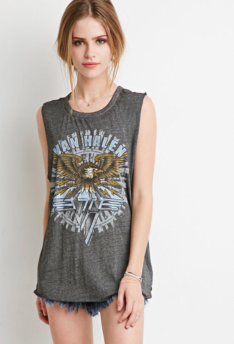 Van Halen Cutout Muscle Tee Women Graphic Tees Women Ladies Mini Dresses