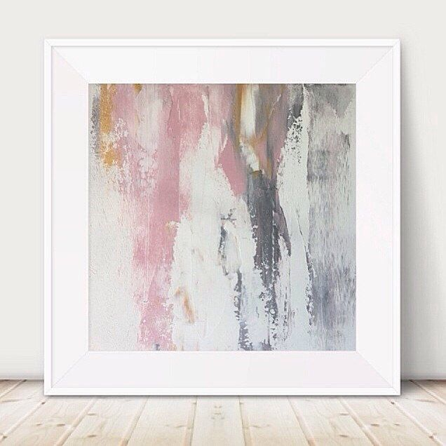 Large Pink And Grey Painting White Metallic Abstract Gold Light Metal Wall Art Decor Square A By GlamGoldArt