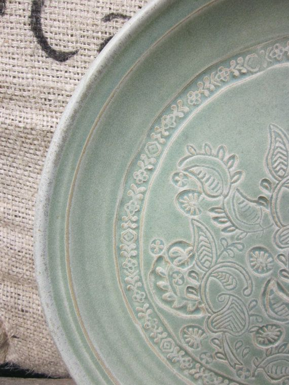 This platter has a beautiful imprint. One-Of-A-Kind!!  etsy.com/kingscreekpottery