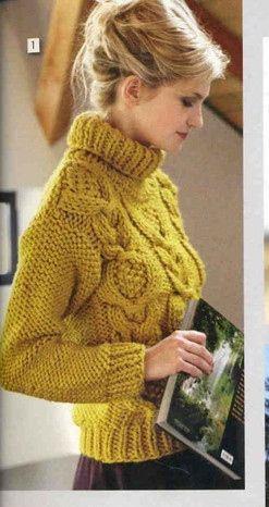 жёлтый свитер из толстой пряжи вязание спицами обсуждение на