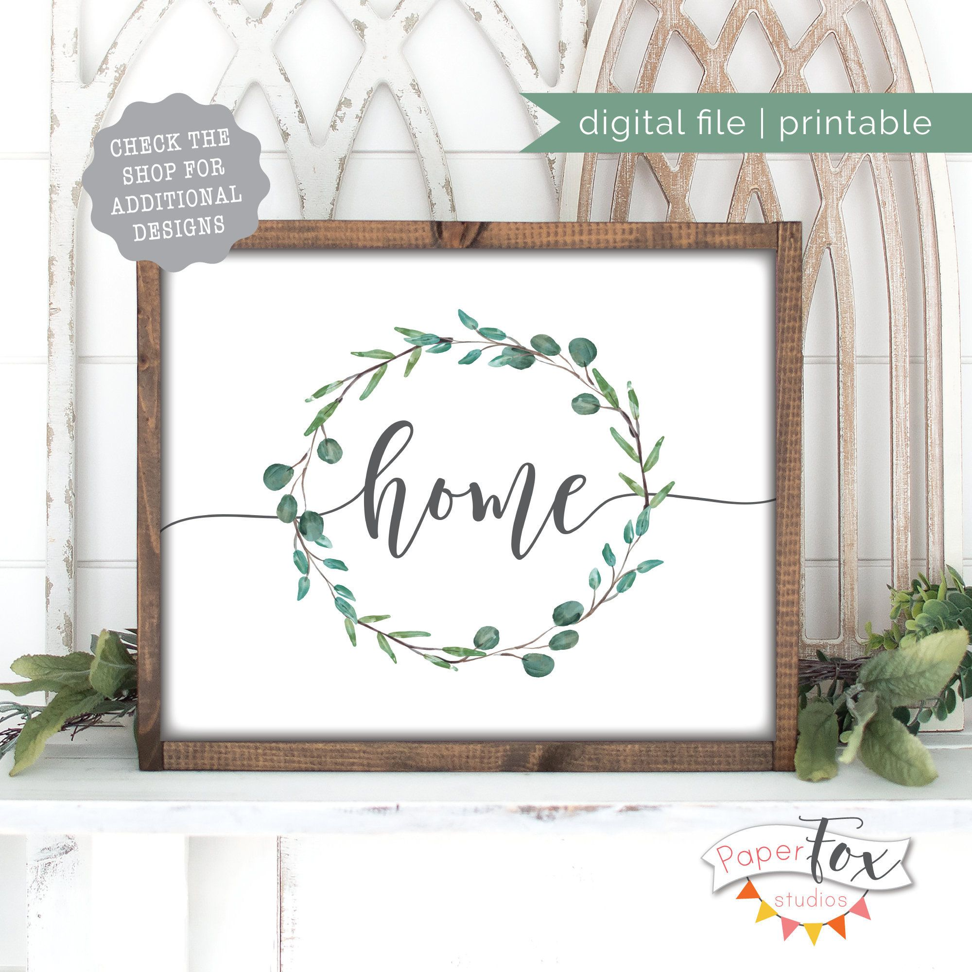 """Photo of Farmhouse Printable Wall Art, Featuring the word """"home"""" with a watercolor eucalyptus wreath, Instant Download"""