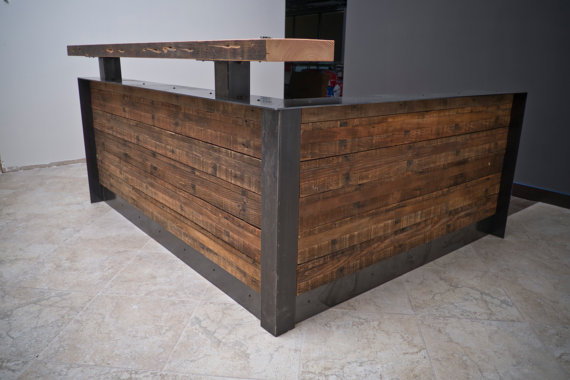 Ada Reclaimed Reception Desk With Full Metal Wrap In 2019