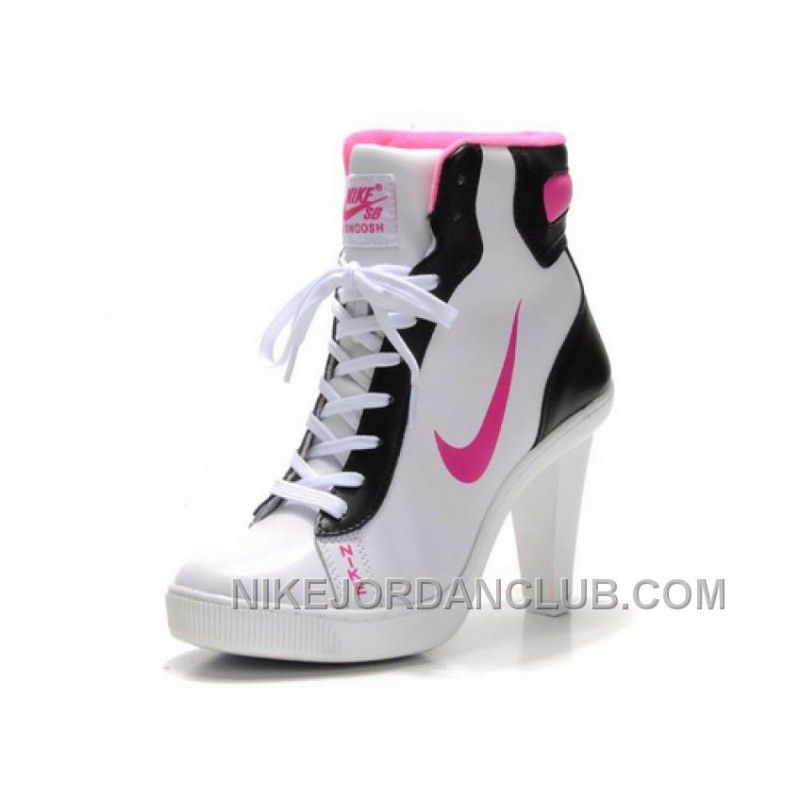 Women's Nike Dunk High Heels High Shoes White/Black/Pink Discount