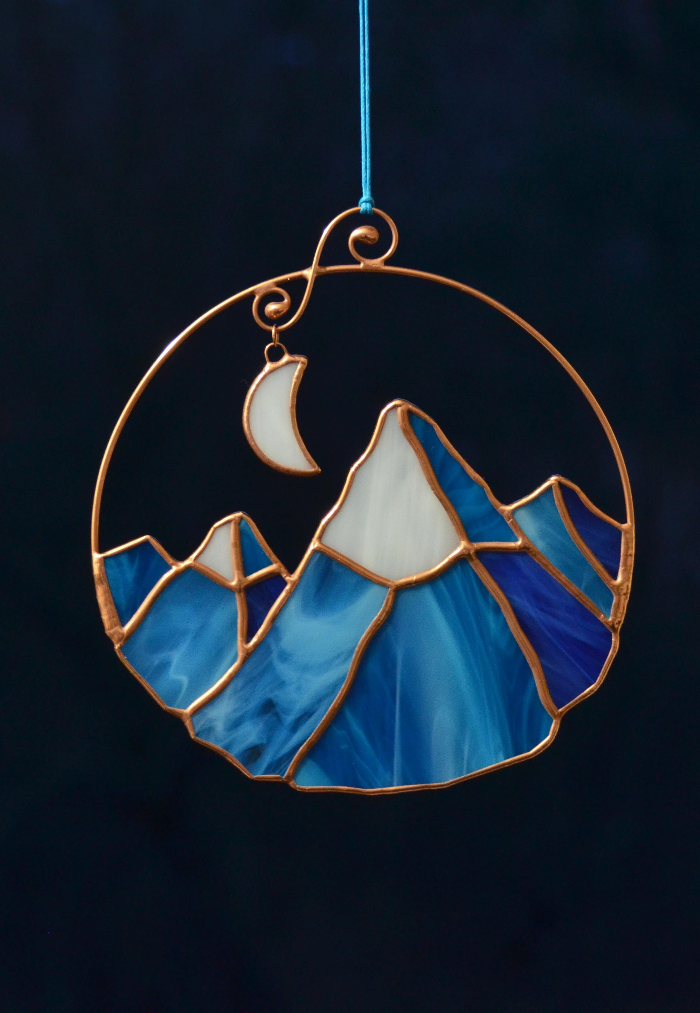 Stained Glass Mountains Suncatcher Window Hanging Glass Dreamy
