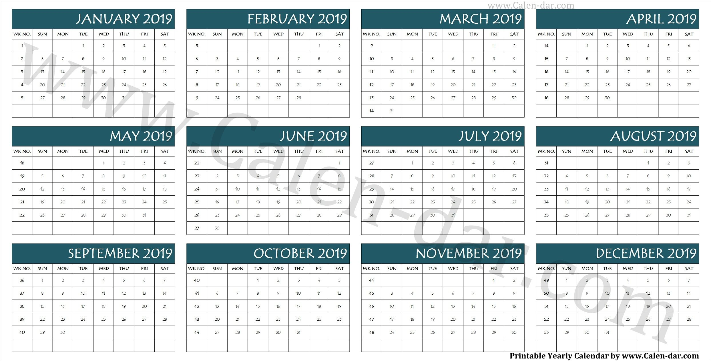 Calendar 2019 Week Wise Printable Template Calendar Printable