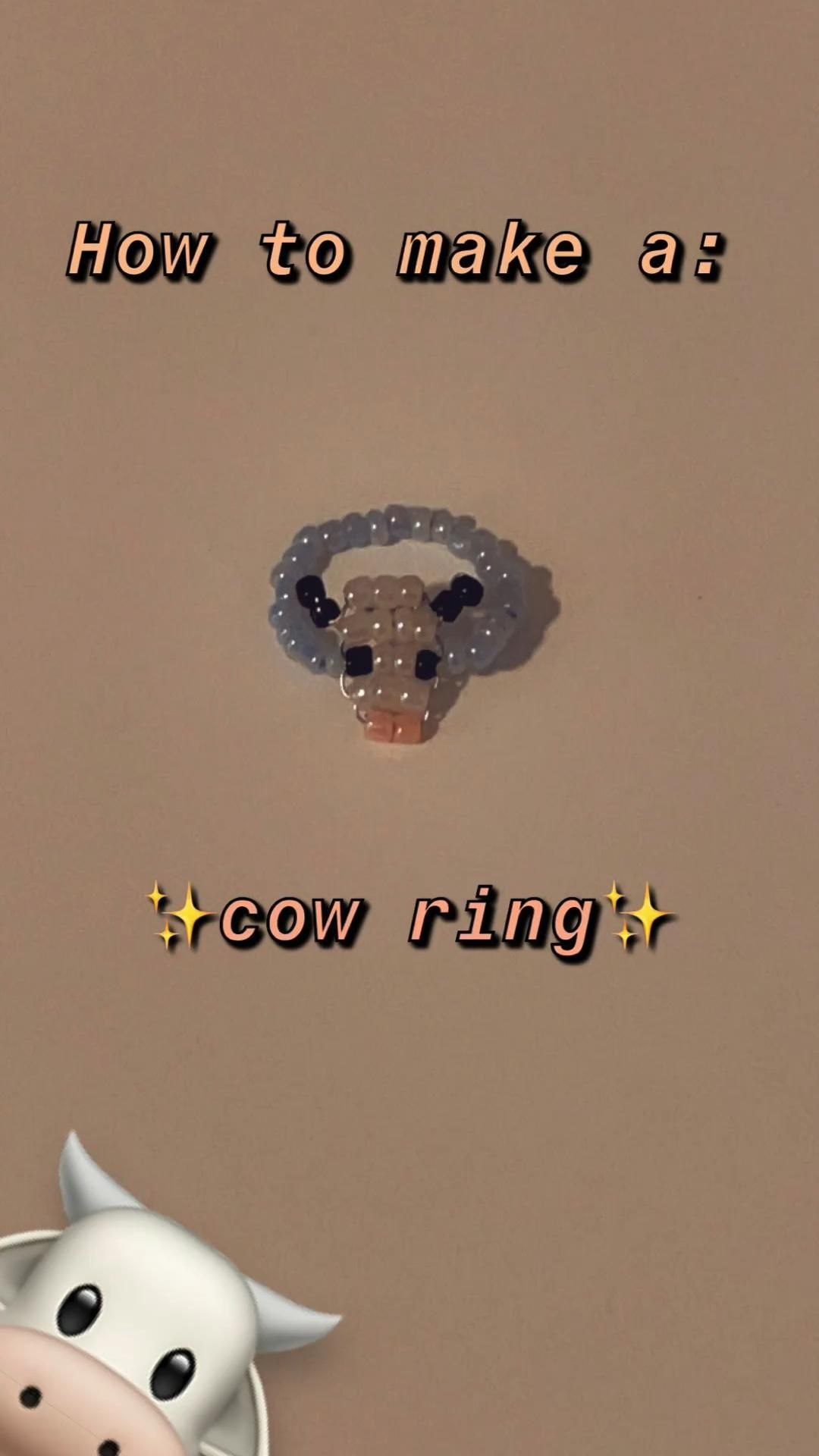 HOW TO MAKE: A BEADED COW RING 🐮
