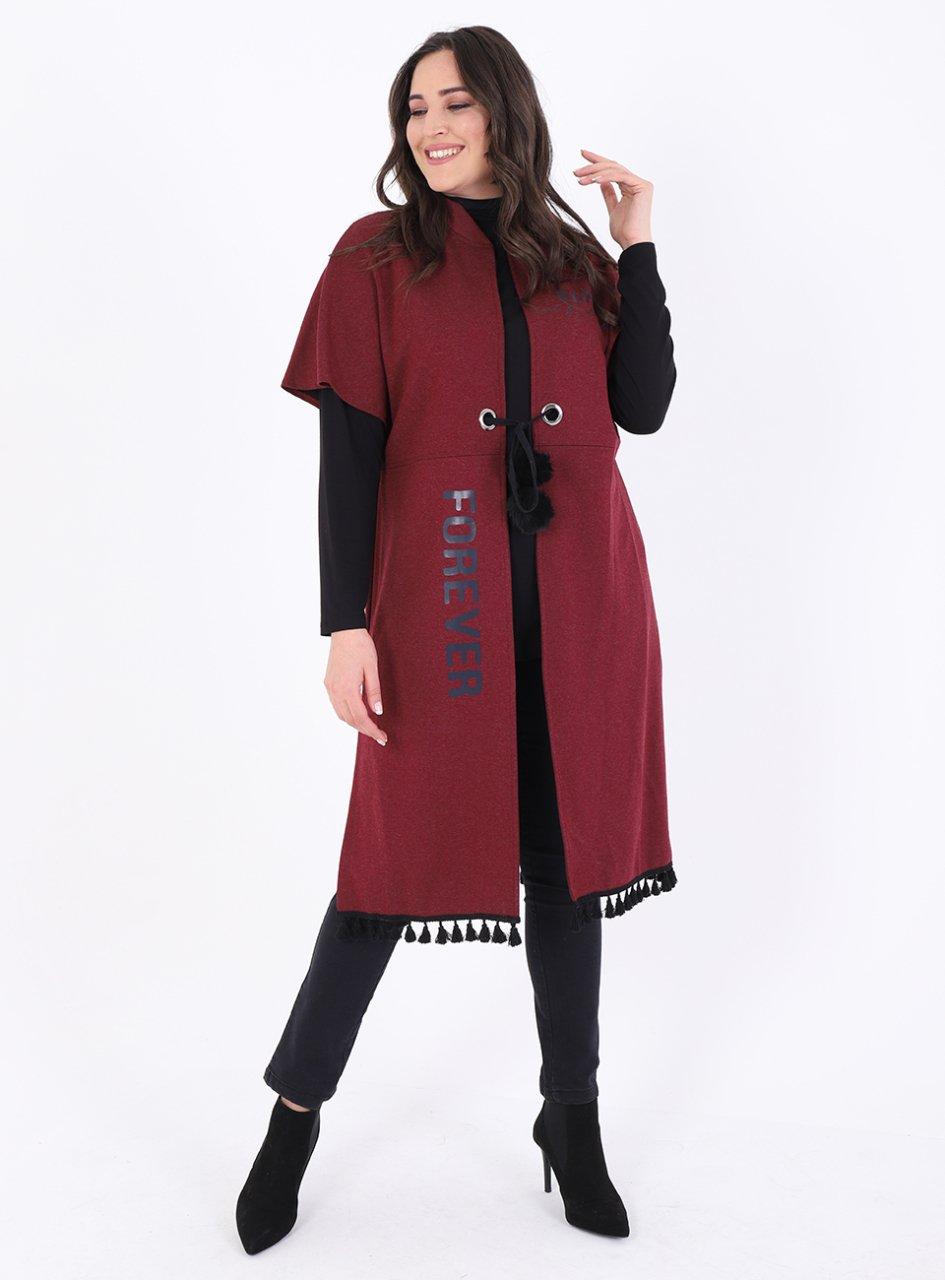 Buyuk Beden 11096 New Yelek Bordo Kadin Giyim Manto Giyim