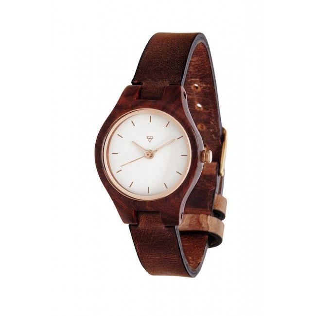 Holzuhr Kerbholz Adelheid Rosenholz/Leder #wood #wooden #watch #wristwatch #ecodesign #sustainable