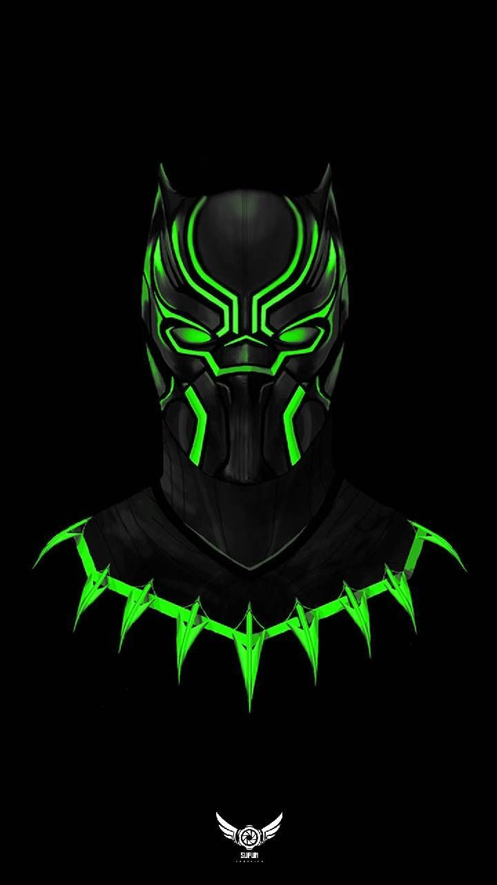 This is Black Panther in a neon green Suit 영화 포스터