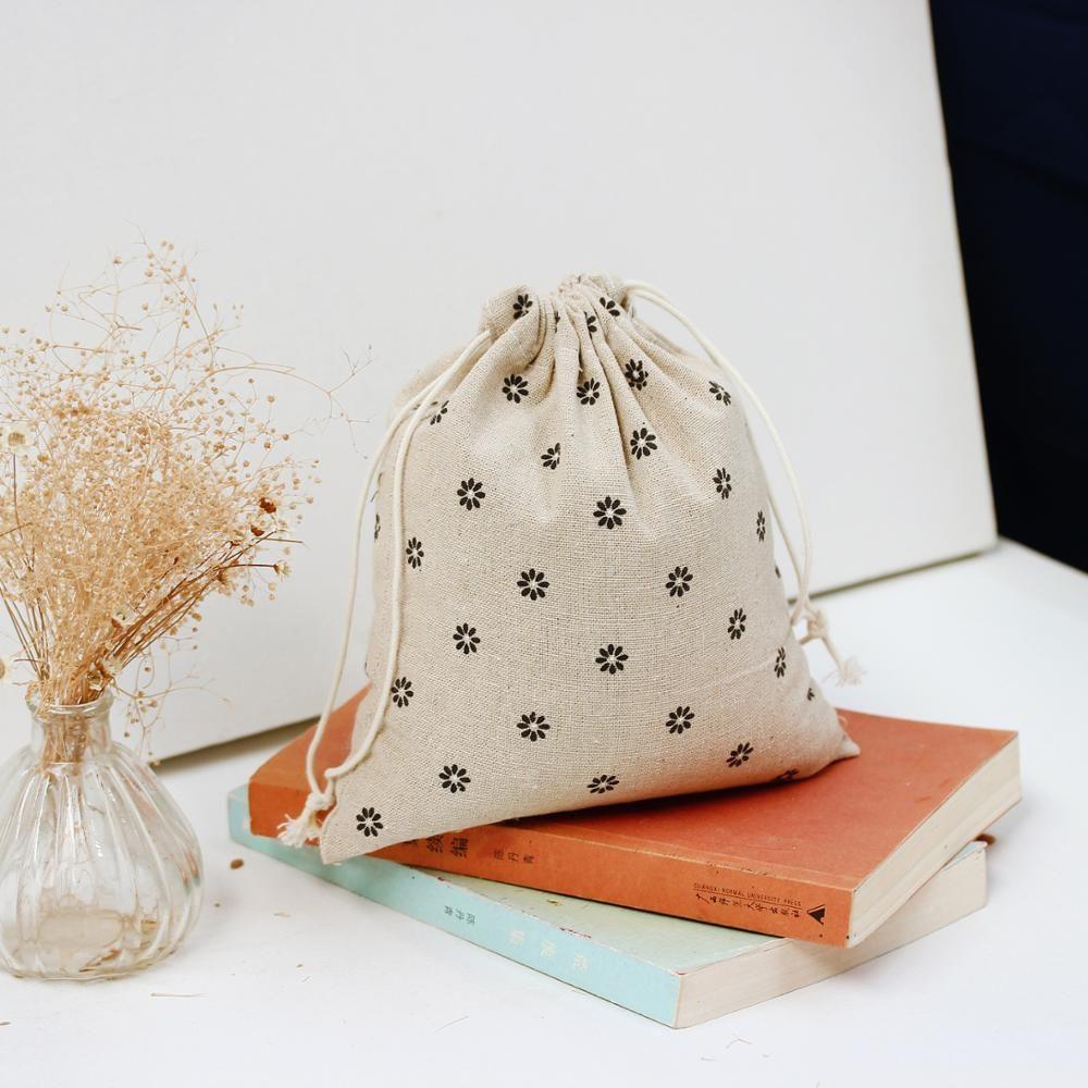 1pcs black daisy drawstring cotton linen storage bag gift