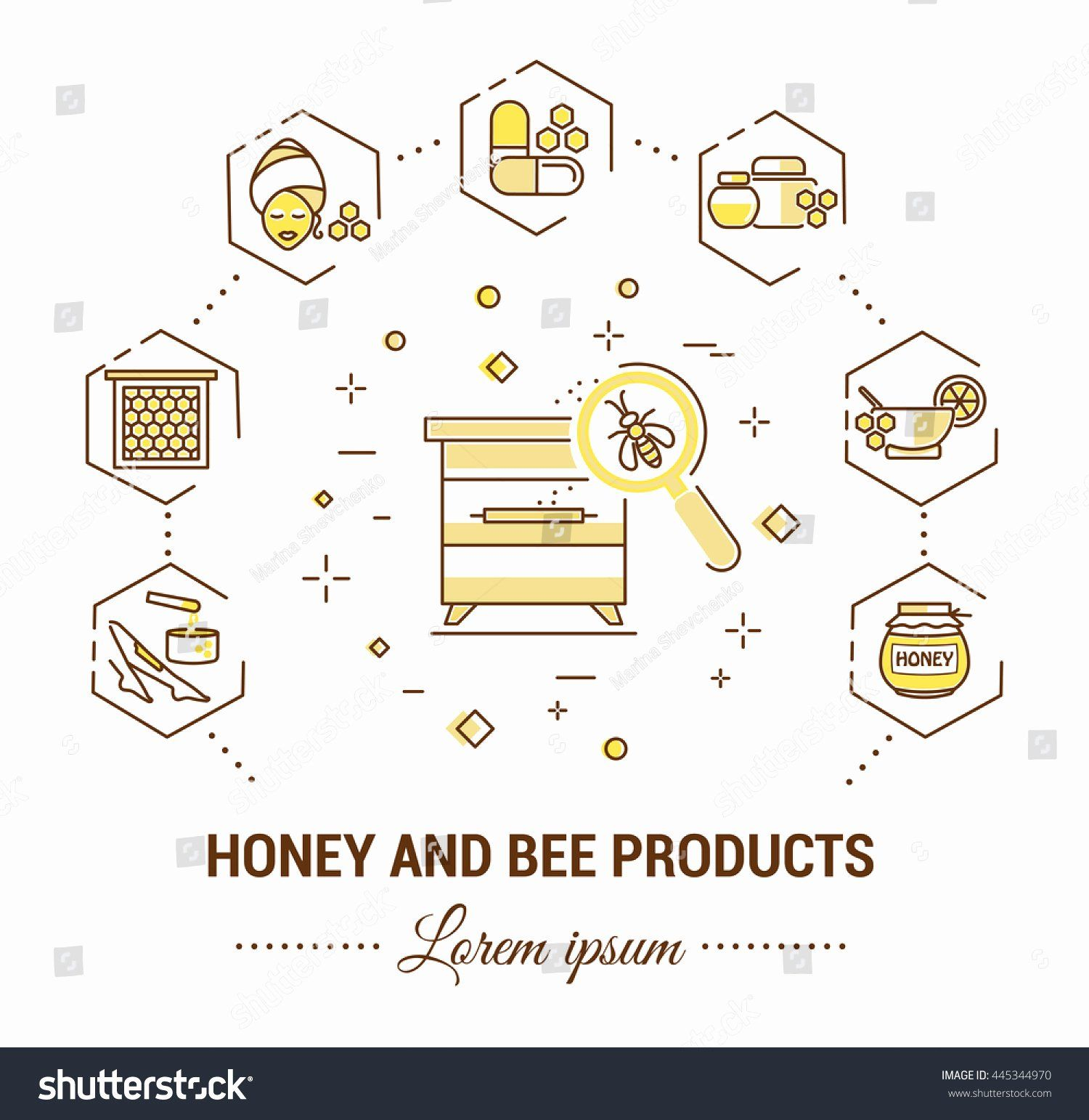 Product Line Card Template New Flat Line Illustration Honey Bee Products Stock Vector Free Brochure Template Card Template Free Printable Card Templates