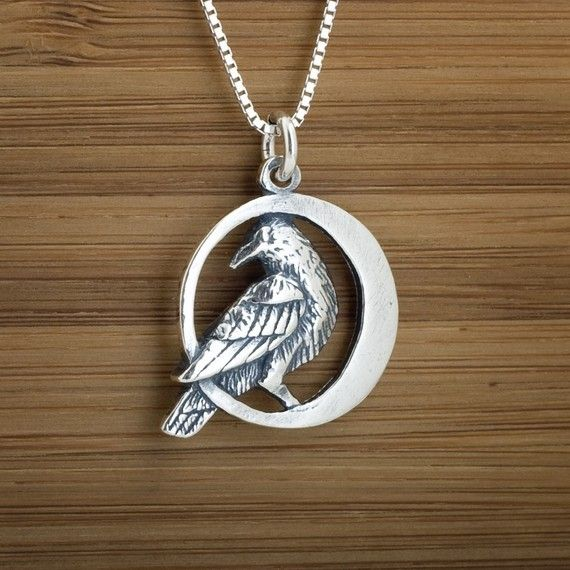 Raven in the Moon  STERLING SILVER  Pendant von LittleDevilDesigns