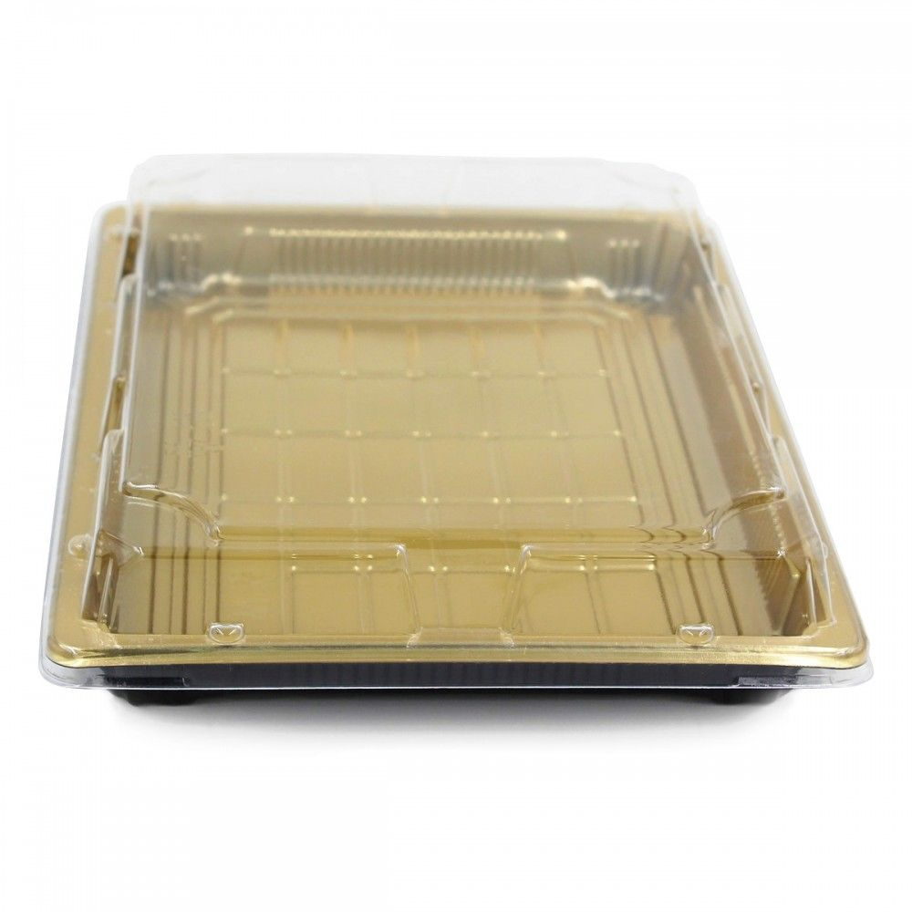 علب بلاستيك اللون ذهبي غطاء شفاف العدد 10 علبه الطول 26 سم العرض 19 سم الارتفاع 5 سم متوفرة لدى موقع صف 10 Things Takeout Container Flatware Tray