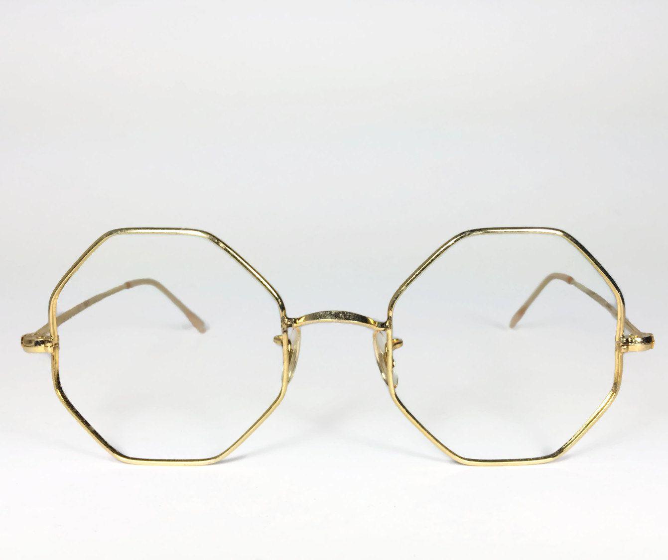 e3af05a5ed90 Vintage 1960s Oversized Gold Octagon Eyeglass Frame - Zinger  39 ...