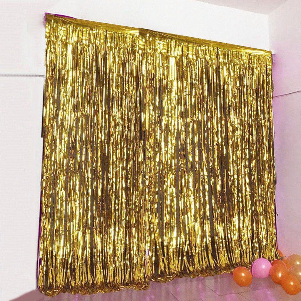 8ft Gold Metallic Foil Fringe Curtain Curtain Fringe Backdrops