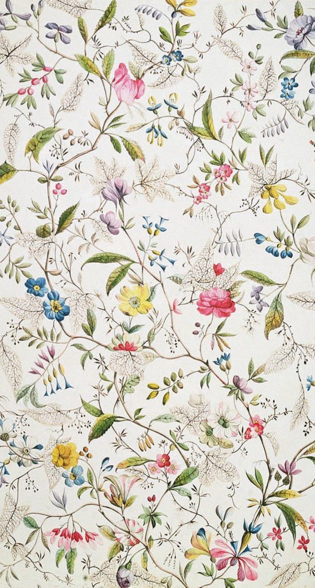 Wallpaper Hallway Larobotique William Kilburn Wild Flowers Design For Silk Material 1790