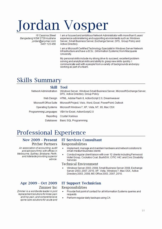 Network Administration Resume Awesome Traditional 2 Resume Format  Resume Format